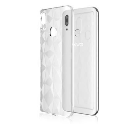 4.7-6.5 inch Soft Phone Case for iPhone Samsung Huawei, Rhombus TPU Phone Cover, Transparent Rhombus Pattern Phone Case