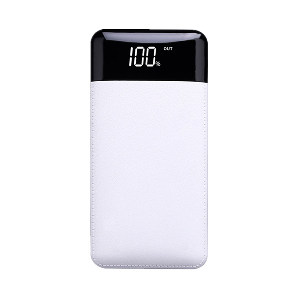 10000mAh Power Bank with 2 Outputs & Dual Inputs, Intelligent LCD, Simulation Leather, Compatible Smartphone, Tablet and More