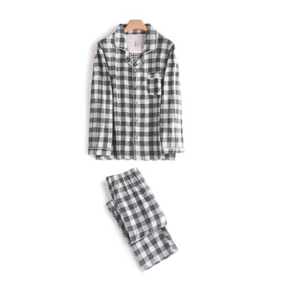 Men's Plaid Night Gown, Simple & Comfortable Long Sleeve Cardigan Pajama Suit for Household Dressing