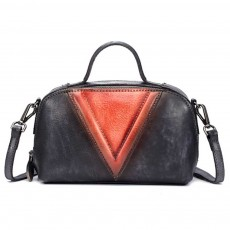 Retro Color Layer Leather Handbag With Hardware Fasteners, Fashion Original Pure Portable Diagonal Personality Small Bag