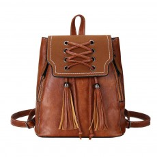 College School Bag Gifts For Women & Girl, Backpack Vintage Casual Tassels PU Leather Shoulder Bag