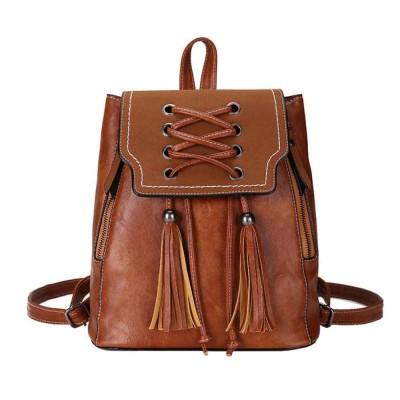 College School Bag Gifts for Women & Girl Backpack Vintage Casual Tassels PU Leather Shoulder Bag