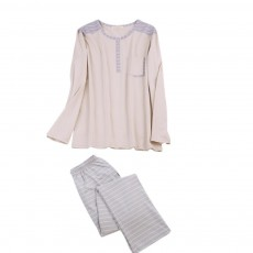 Men's Long-sleeved Casual Knit Pajama Suit with Round-neck Design, Breathable & Soft Household Clothes for Spring Autumn