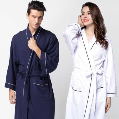 All-cotton Couple's Night Gown, Skin-friendly Delicate Embroidered Bathrobe, Sweat Sauna Towel for Beauty Salon and Spa Hotel