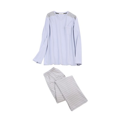 Mens Sleeping Pajamas Suit, Long-sleeved Casual Knit Pajama Suit with V-neck Design for Spring and Autumn