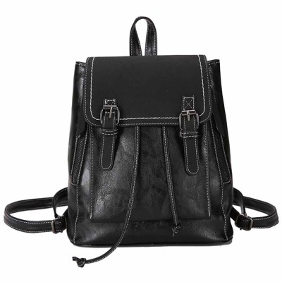 Retro Backpack with Casual Buckle Flap PU Leather Shoulder Bag Fashion Accessories College School Bag Gifts for Women Girls