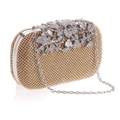 Rhinestone Handbags with Chain Shoulder Strap for Hand Holding Fashion Hard Shell Small Square Cool Bag for Evening Party