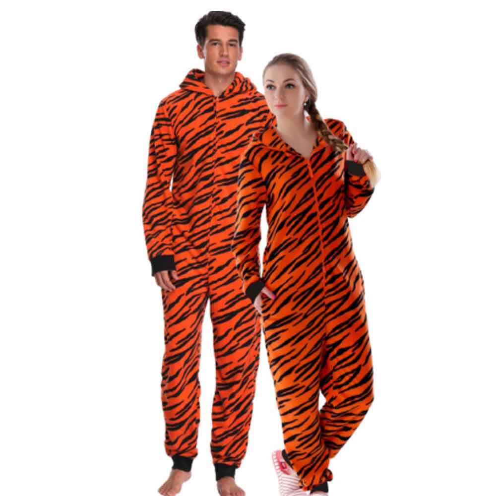 Couples' Pajama Suit with Thick Polar Fleece Material, Cartoon Animals Household Clothes for Winter