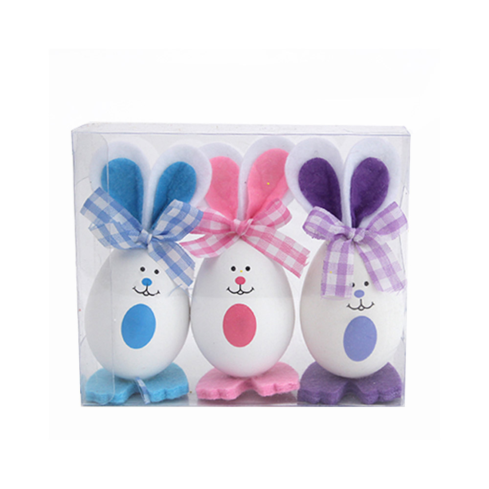 Plastic Easter Bunny Eggs with Delicate Bow and Lovely Face, Pendant and Gift for Children
