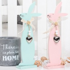 Handmade Wooden Easter Bunny for Coffee Shop & Living Room Decoration