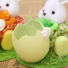 Hand-made Plush Rabbit with Egg Shell Straw, Easter Decorations, Mall and Shop Pendant