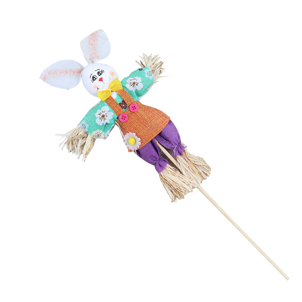 Easter Bunny Scarecrow with Delicate Bow and Cool Suspenders, Creative DIY Handmade Scarecrow Medium-sized