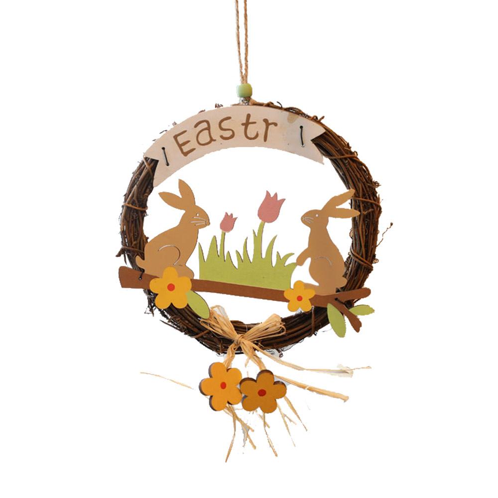 Easter Wreath Wood Bunny Chicks Eggs, Door Hanging Decorations Pendant Props