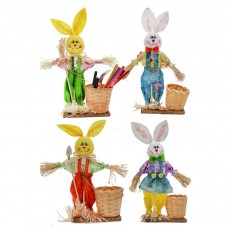 Easter Bunny Decorates as Brush Pot with Cute Rabbit Scarecrow Design, Kindergarten Gift