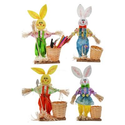 Easter Bunny Decorates as Brush Pot with Cute Rabbit Scarecrow Design, Kindergarten Gift