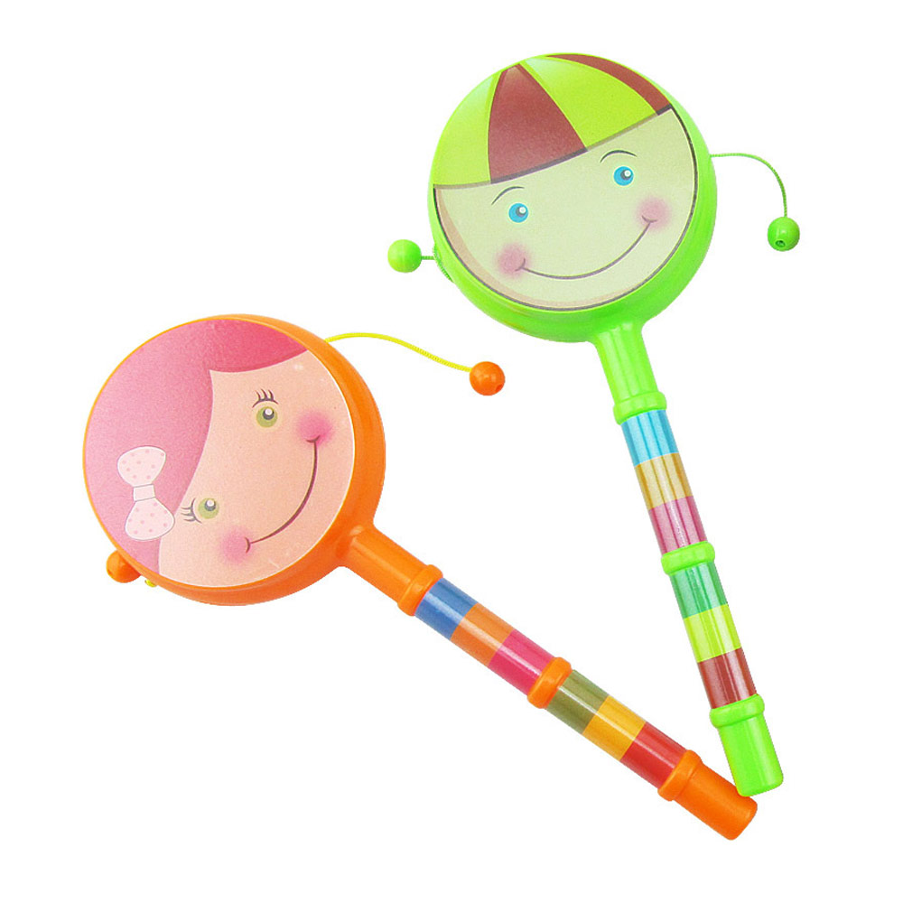 Baby Cartoon Shaking Rattle Ring Bell Drum Toys, Hand Shake Bell Funny Educational Toys