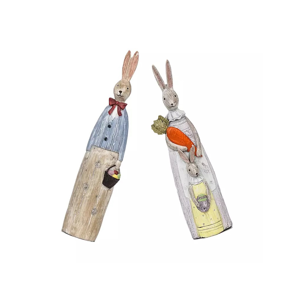 Resin Rabbit Crafts Ornaments Gifts for Easter Birthday, Pastoral Hand-painted Rabbit Decoration