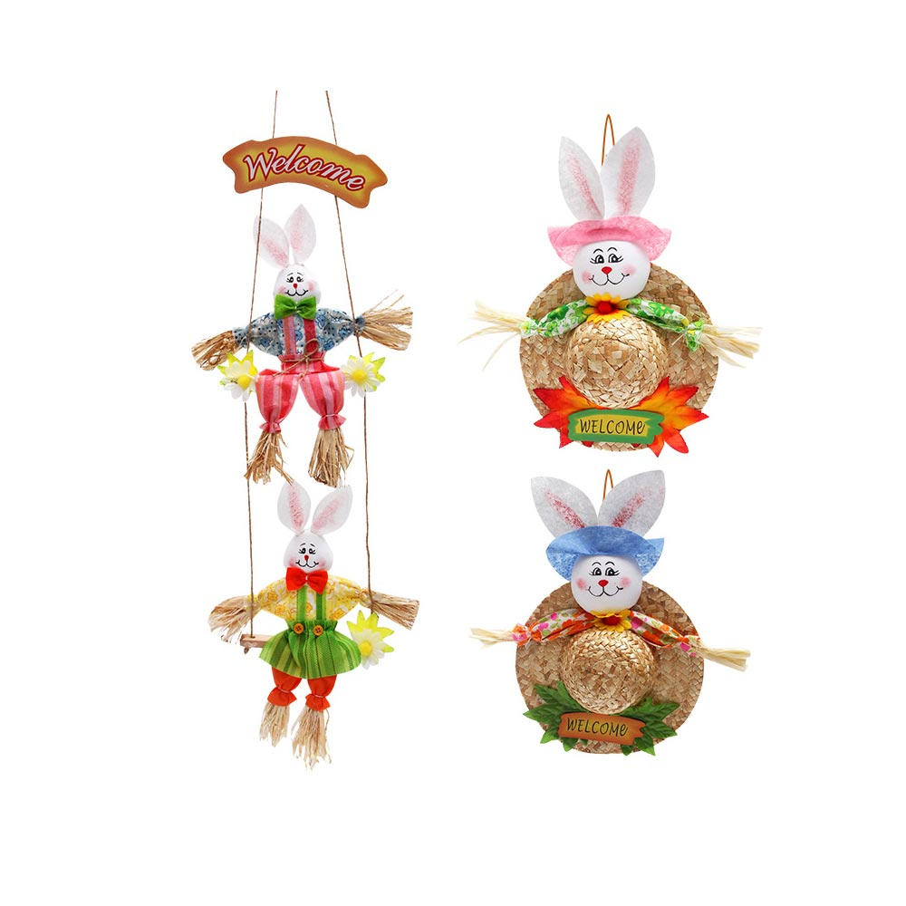 Bunny Hat Pendant for Easter Decoration, Straw Woven Rattan Weaving Hat with Cartoon Design, DIY Handmade Hat