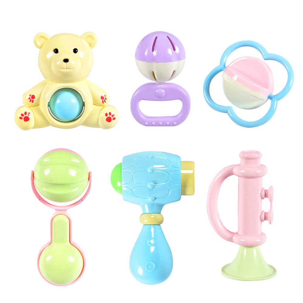 Baby Rattles Teether Toy Spin Rattle, Early Educational Toys Bell Rattle Set for 0-24 Months Baby Infant, 6 PCS