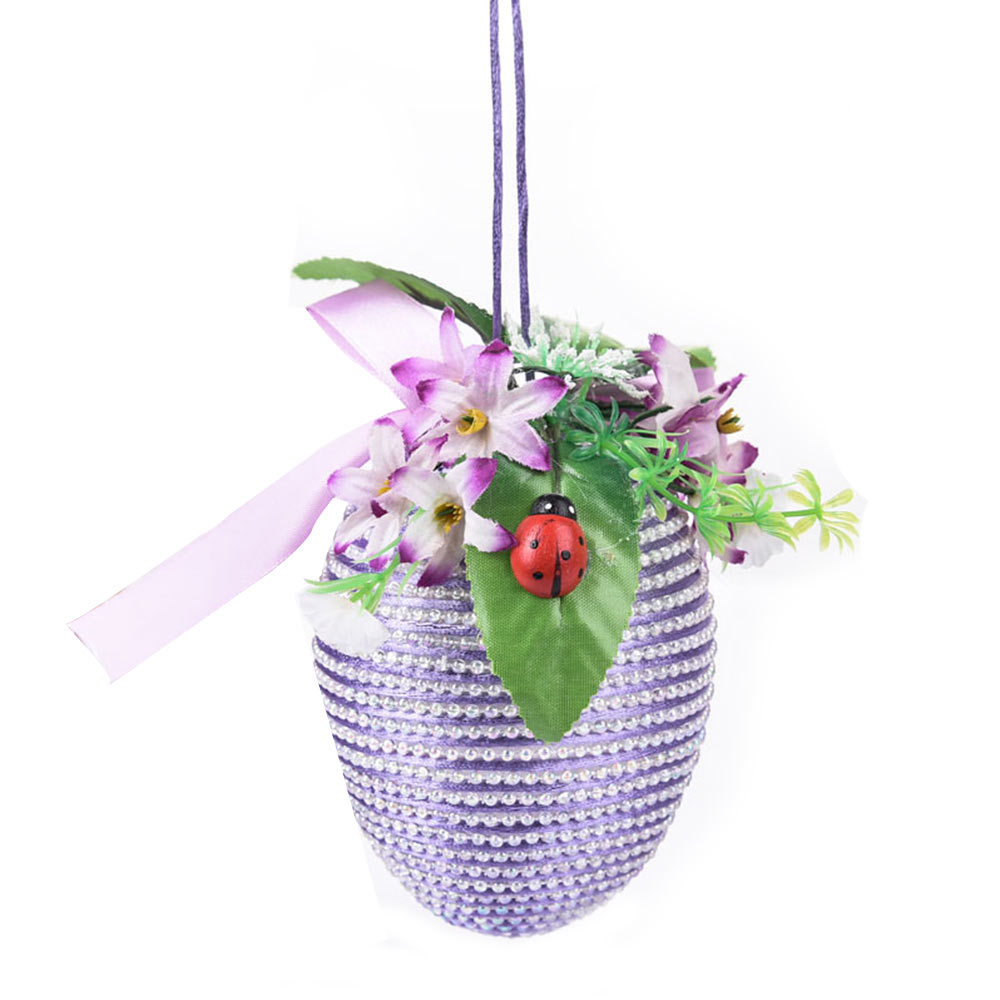 Inlaid Pearl Egg Easter Decoration With 10cm Diameter, Indoor Outdoor Hanging Easter Egg Flower Basket