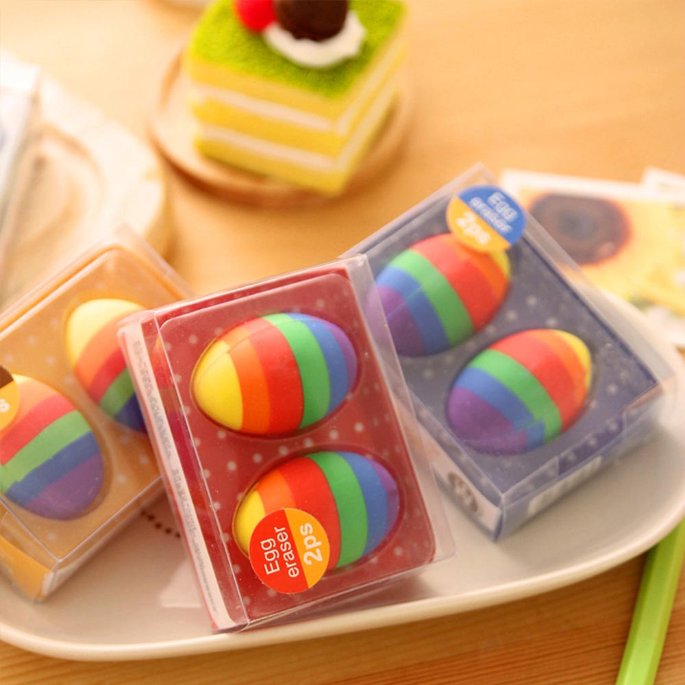 Fun Easter Gifts For Toddlers - Flexible Colored Eraser with Eggs Design, 2PCS