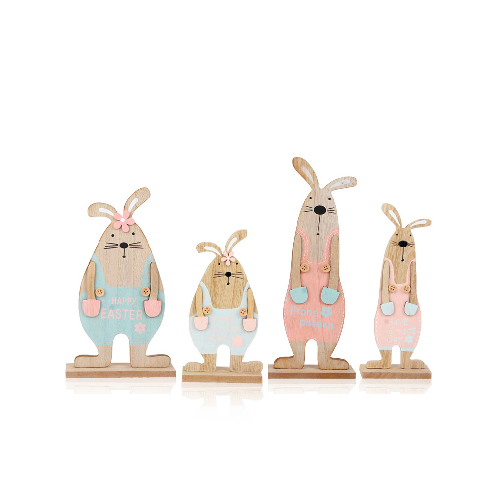 Wooden Bunnies for Desk and Living Room Decoration, Log Wooden Rabbit with Texture Buckle and Cool Suspenders