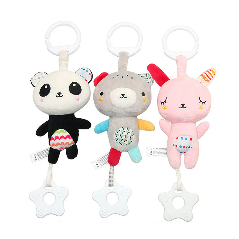 Baby Animals Pendant Plush Musical Toys, Infant Baby Rattle Hanging Toys for Stroller, Child Bed