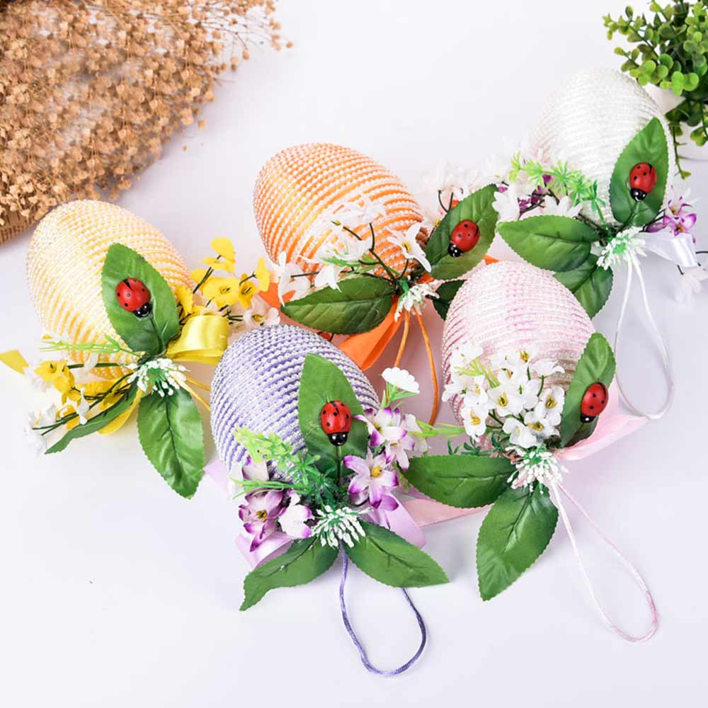 Inlaid Pearl Egg Easter Decoration With 10cm Diameter, Indoor Outdoor Hanging Easter Egg Flower Basket