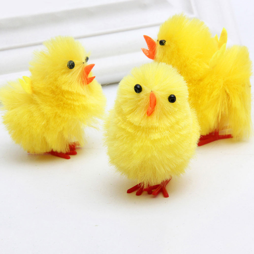 Fluffy Little Yellow Chicken with Lovely Eyes and Standing Posture, Easter Decorations, Children's Easter Gift