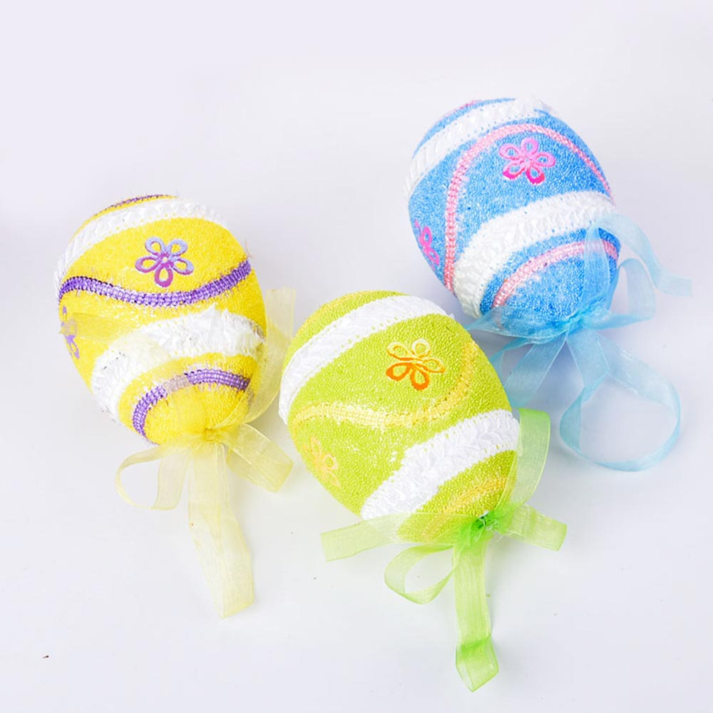 Large Foam Easter Egg Decoration 9cm, Large Size Pendant with Hanging Ribbon Easter Ornaments