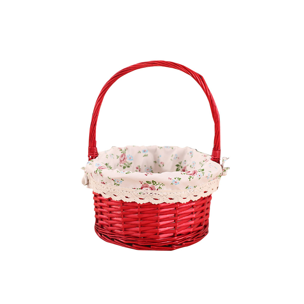 Mini Picnic Basket for Children, Willow Woven Hand-basket with Cotton and Linen Lining and Bud Silk