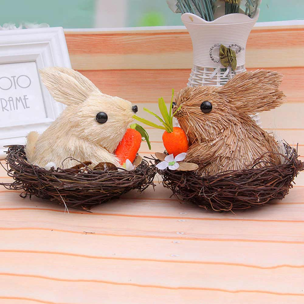 Easter Decorations - Hand-made Straw Bunny with Thorns Nest and Carrots, Mall and Shop Pendant
