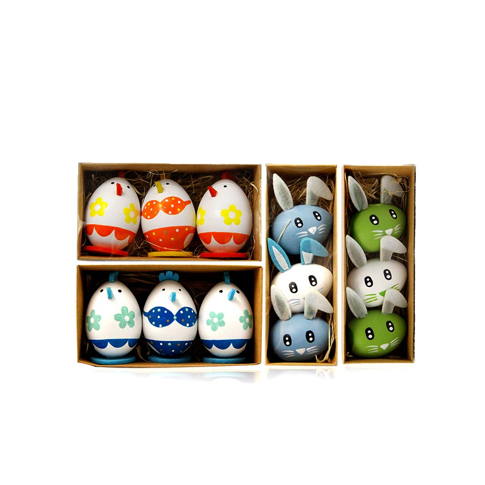 Lovely Easter Eggs, Painted Rabbit Plastic Eggs with Delicate Features, Stable Base, Cute Little Tail, Gifts for Children