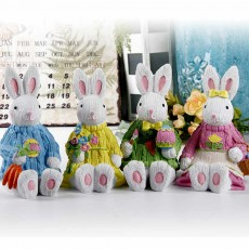 Resin Easter Hand-Painted Bunny with Seating Post for Any Room, Shelf or Windowsill, Decorative Centerpiece