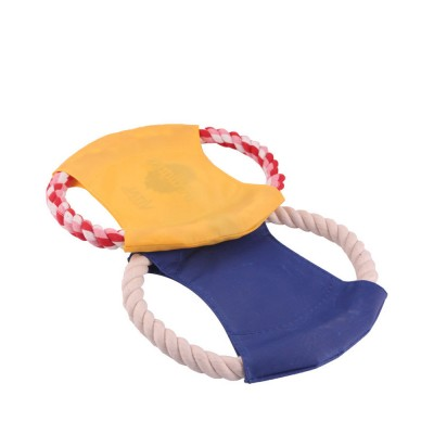 Pet Dog Cotton Rope Waterproof Pet Frisbee, Color Canvas Bite Dog Discs for Pet Training