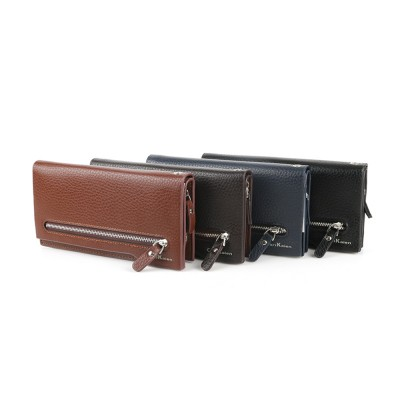 Men's Leather Long Wallet with Smooth Metal Zipper, Business Casual Wallet with Large Capacity for Men