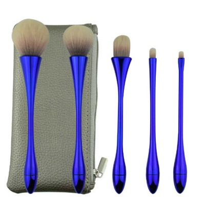 5 Small Waist Makeup Brushes Set, Multifunctional Brushes with Small Waist Shape of Electroplating Plastic