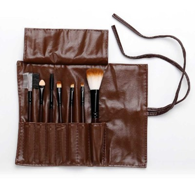 Brown Makeup Brush Set with Leather Cosmetic Bag 3bc300199