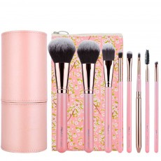 8PCS Makeup Brushes Set with Pearly Solid Wood Brush Rod and Brush Barrels