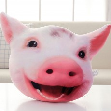 Pig-head Pillow Cute Shape Cushion, PP Short Plush Creative Bolster for Birthday Gift