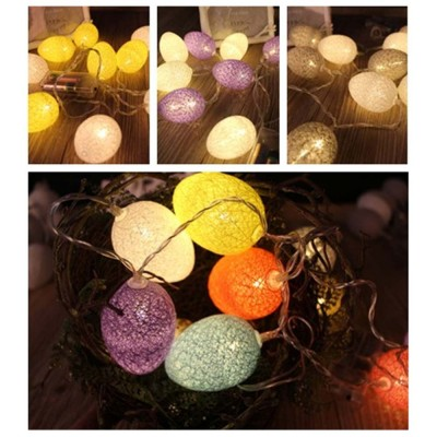 Easter Egg String Lights, Cotton Thread Battery Operated LED String Egg Lamp Home Party Decor