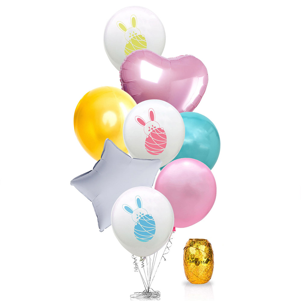Cartoon Rabbit Printing Latex Balloon, Birthday Party Balloons with Ribbon for Festival Easter Decoration Single or Double Bunch