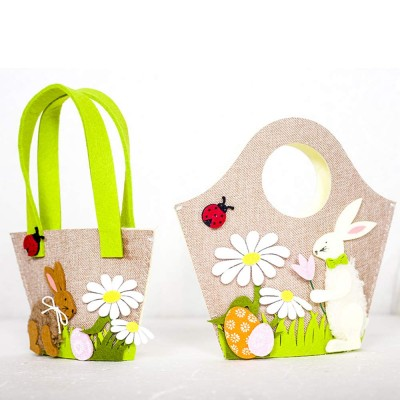 Easter Egg Bag Cartoon Rabbit Handbag Storage Bag, Single Shoulder Shopping Basket Bunny Printed Storage Bag