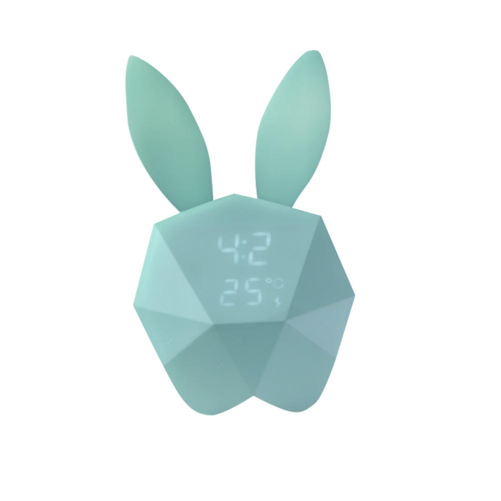 Creative Cute Rabbit Bunny Shaped Intelligent Digital Alarm Clock, Fashion Stylish Luminous Multifunctional Clock Watch with Magnet