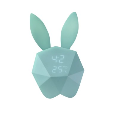 Creative Cute Rabbit Bunny Shaped Intelligent Digital Alarm Clock, Fashion Stylish Luminous Multifunctional Clock Watch with Magnet