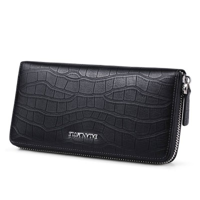 Business Casual Wallet with Metal LOGO, Double Zipper Leather Long Wallet with Large Capacity for Men
