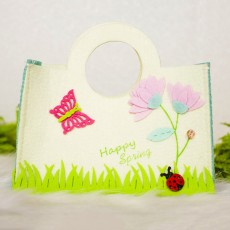 Easter Cloth Shopping Basket, Seven-spotted ladybugs Cartoon Butterfly Printed Candy Storage Bag Felt Storage Basket
