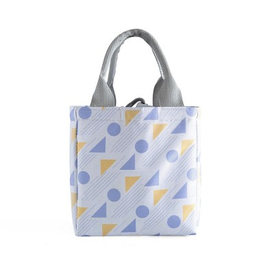 Geometric Printed Insulated Bag with Drawsting Sealing, Portable Cooler Picnic Bag for Packing Fruits, Vegetables, Foods
