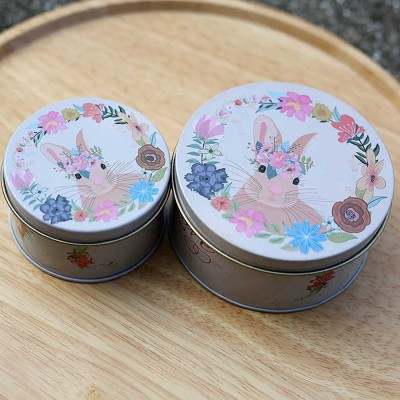 Round Tinplate Candy Box for Weddings, Creative Candy Box of Lovely Rabbit Printings Storage Box Bonbon Box Gift Box