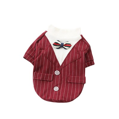 Creative Checked Gentleman Suit Miniature Pet Clothes, Stylish Small Dog Pet Clothes Formal Costume Apparel with Bow Tie
